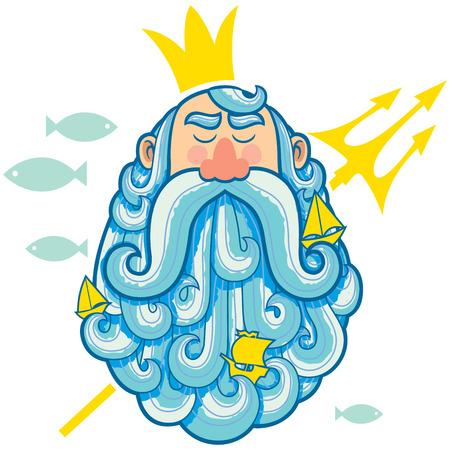 neptuno: Ilustración de dios del mar Neptuno.