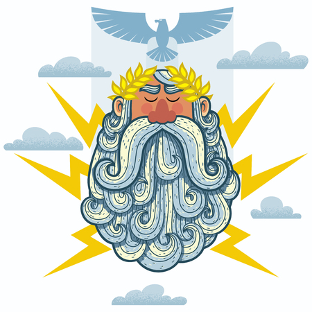 Cartoon Illustration of the Greek God Zeus.
