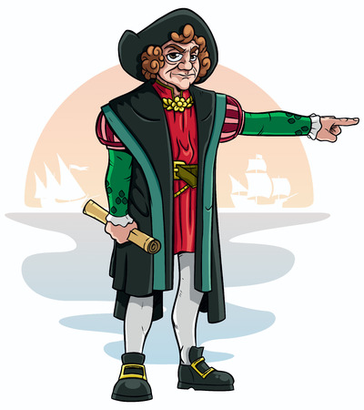 christopher columbus: Cartoon of Christopher Columbus. Illustration