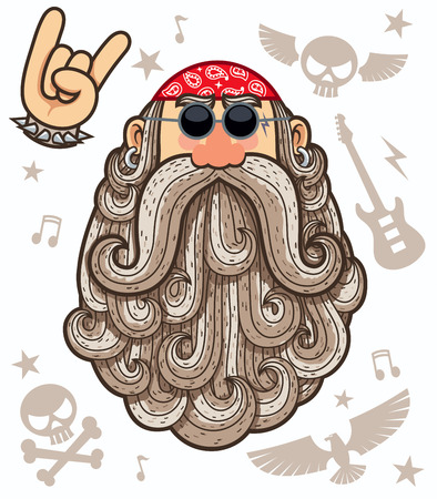 Cartoon illustration of rocker. 矢量图像