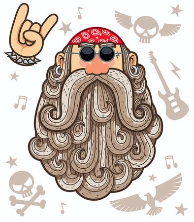face illustration: Cartoon illustration of rocker. Illustration