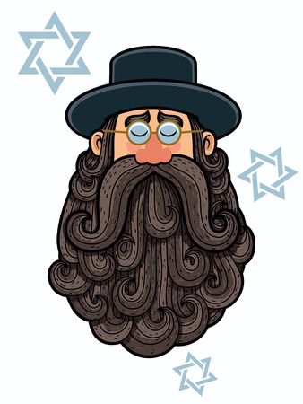 jews: Cartoon Illustration of rabbi with big beard. Illustration