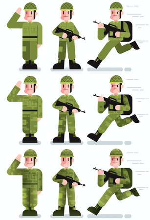 trooper: Flat design illustration of soldier in 3 poses and 3 color versions.