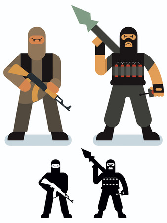 doctrine: Set of 2 terrorist illustrations in 2 versions.