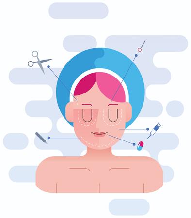 liposuction: Concept flat design illustration for plastic surgery.