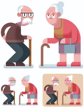 pensionado: ilustración de diseño plano de la pareja de ancianos en 3 versiones de color. Vectores