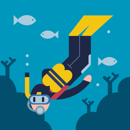 Flat design illustration of scuba diver.