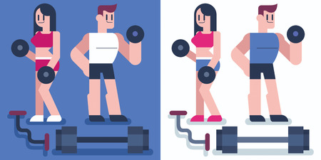 pesas: Diseño plano de la formación personajes masculinos y femeninos en el gimnasio.