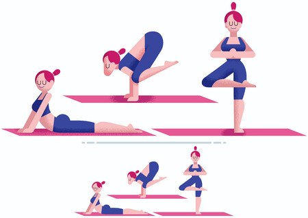 Flat design of young woman doing yoga. 3 poses and 2 color versions.
