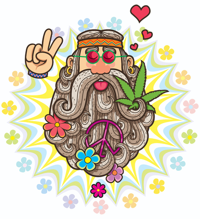 Cartoon illustration of hippie. 矢量图像