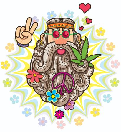 Cartoon illustration of hippie. Vettoriali