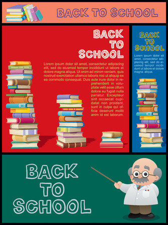 general knowledge: Set of cartoon banners for school, education, bookstore, library and knowledge in general. Illustration