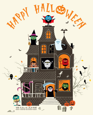 monsters house: Halloween illustration with spooky haunted house full of monsters.