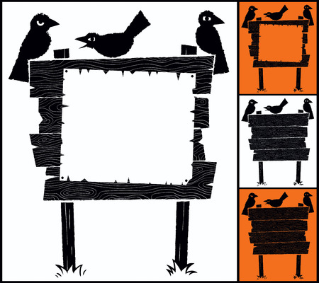 old sign: Cartoon wooden sign with crows and copyspace. Illustration