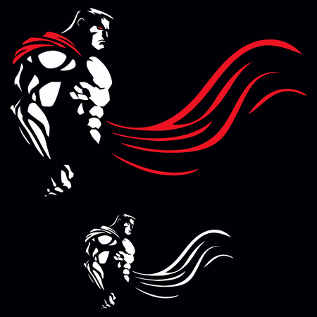 Illustration of superhero on black background.