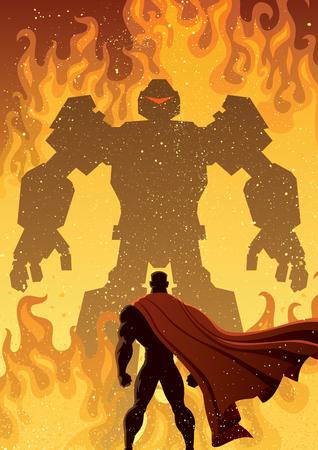 battle evil: Superhero facing giant evil robot. Illustration