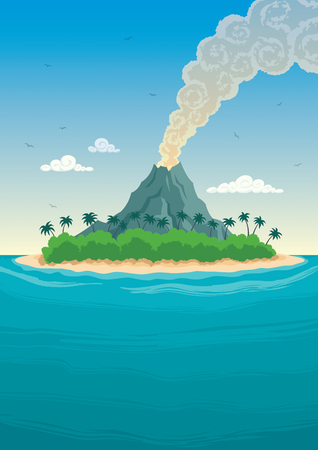 volcano: Tropical island with smoking volcano.