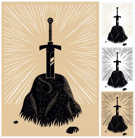 versions: Illustration of King Arthurs Excalibur linocut style. 4 color versions. Illustration