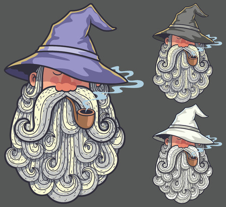 a legend of magic: Portrait of wizard smoking pipe in 3 color versions. Illustration