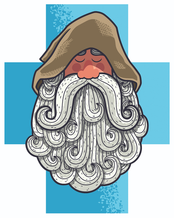 secluded: Cartoon portrait of old Christian monk with big beard.