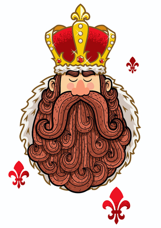 czar: Portrait of cartoon king with big beard.