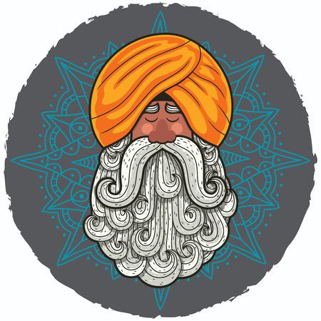 Cartoon portrait of Indian guru with big beard.