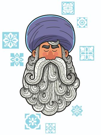 retrato de la historieta del hombre con turbante y barba grande.
