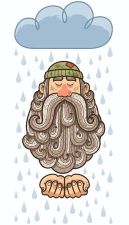 Concept Illustration of homeless man with big beard begging. Illustration