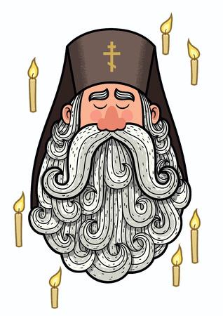 believer: Cartoon portrait of orthodox priest.