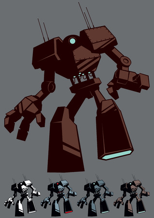 villain: Giant robot in 5 color versions. Illustration