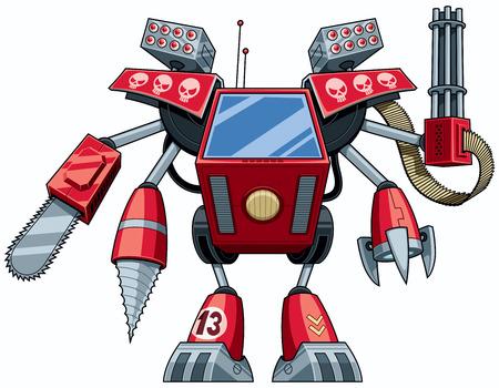 Red robot in full battle gear.