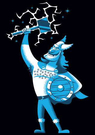 Cartoon illustration of Scandinavian god Thor over black background.