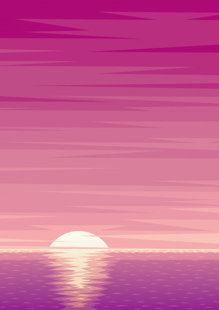 sunrise ocean: Cartoon ocean background with sunrise and copy space. Illustration