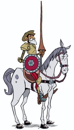白い背景に分離されたラ ・ マンチャのドン・キホーテの漫画イラスト。