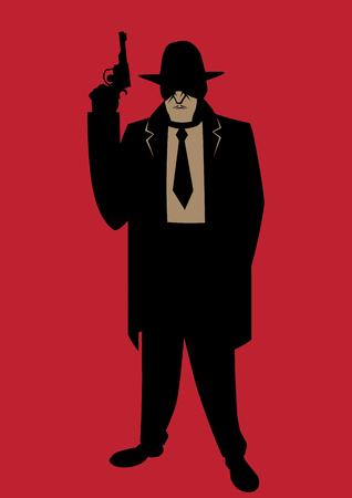 Cartoon illustration of gangster from the Prohibition era. Illustration