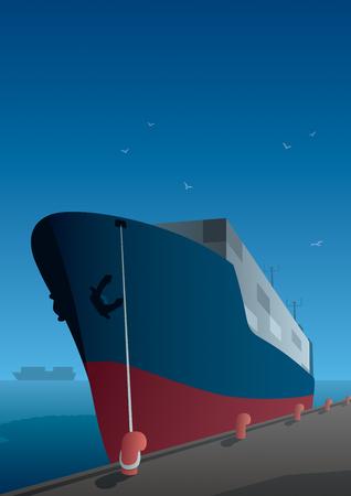 docks: Illustration of cargo ship on dock.