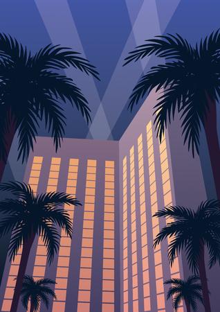 Hôtel et station de casino la nuit en style Art Déco.