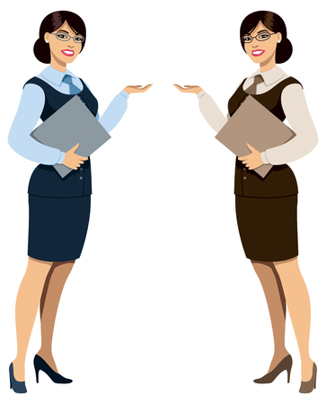 hotel staff: Illustration of woman in business suite in 2 color versions.