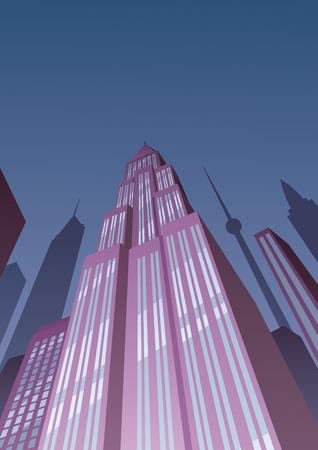 tower tall: Cartoon skyscraper at night in Art Deco style.
