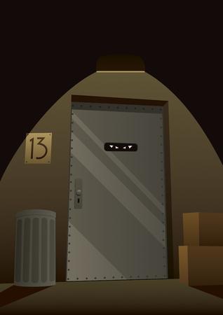 Criminal hideout on dark street corner.