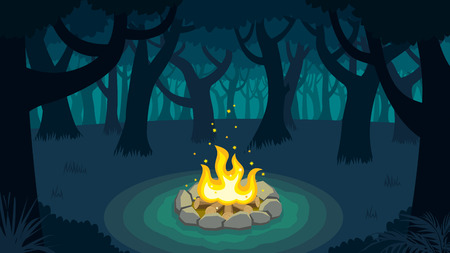 Cartoon illustration of forest campfire.