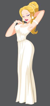 Greek goddess Aphrodite on grey background.
