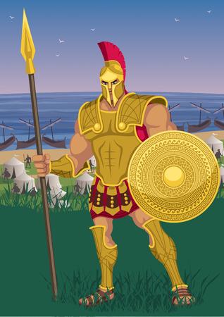 Achilles near the Greek camp on the Trojan shore.