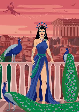 Hera, Queen of the Greek gods, among her favorite birds.
