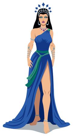 Illustration of Greek goddess Hera over white background. Illustration