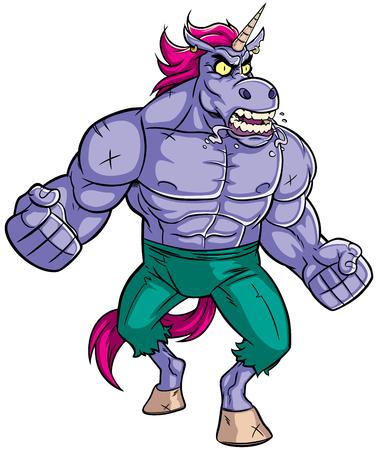 Cartoon illustration of mad raging unicorn.