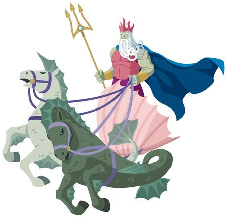pitchfork: The sea god Poseidon over white background. Illustration