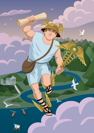 Greek god Hermes carrying message to Zeus.