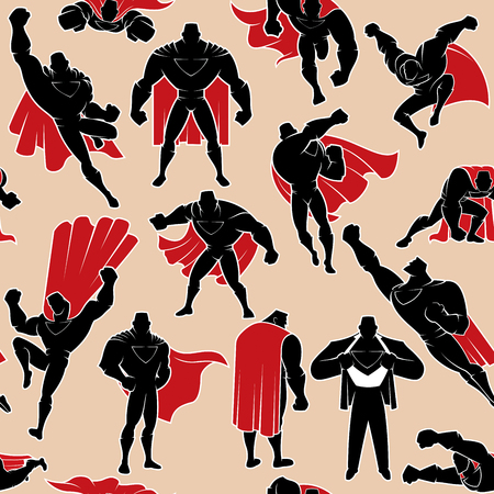 Seamless pattern with cartoon superhero in 14 different action poses.