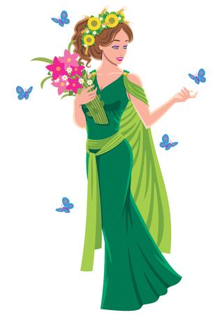 白い背景の上のギリシャの女神デメテル。